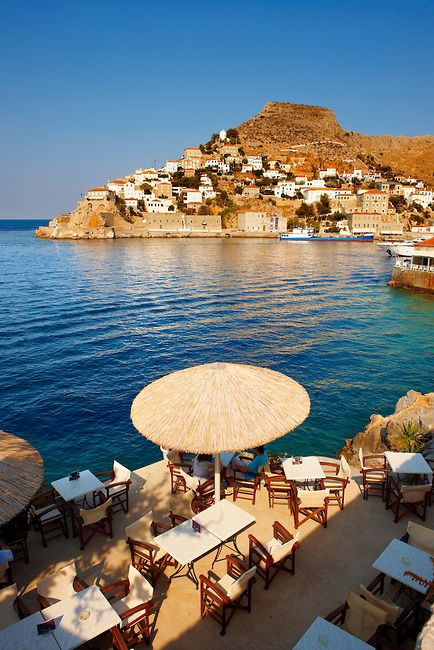 Cafe overlooking the port of Hydra , Greece