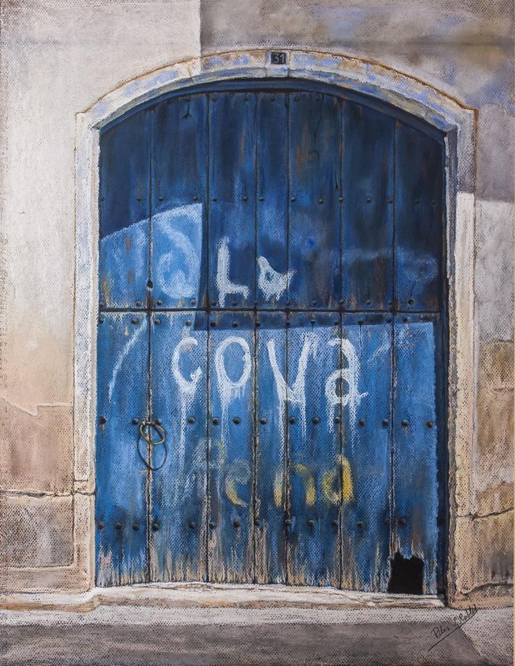 Pilar S. Robles. Puerta azul La Cova (Provincia de Lleida). Pastel. 80x66