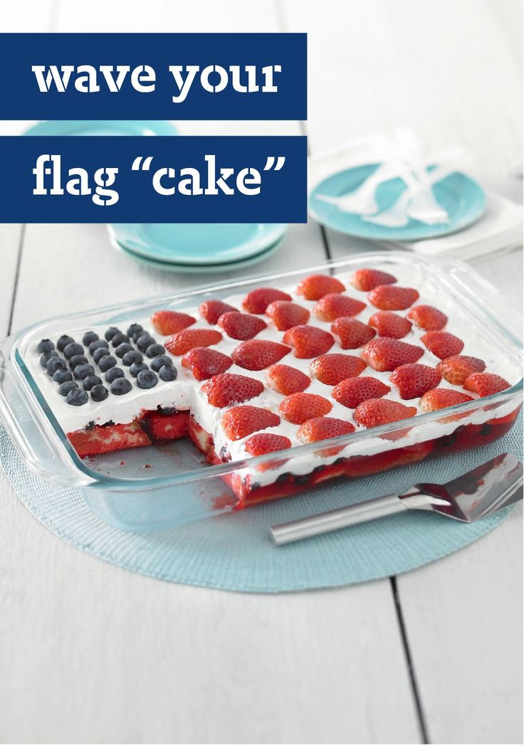 "Wave Your Flag ""Cake"" – We call it a cake, but there's no need to bake! With this easy recipe, you can avoid heating up the kitchen simply by combining JELL-O, prepared pound cake, and fresh berries. This is one truly patriotic treat you'll want to save for the 4th of July."