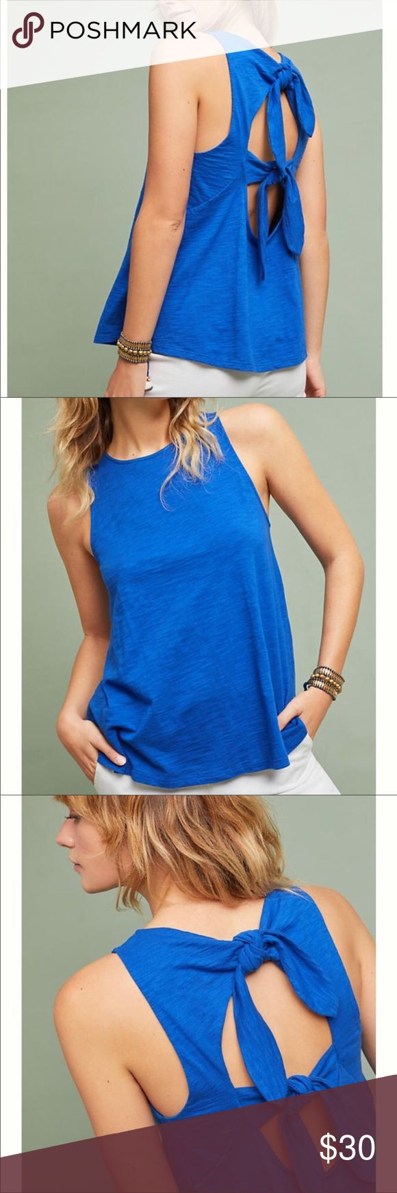 Anthropologie RO&DE Bow Back tank! Size Large. NWT!!! Anthropologie blue RO&DE Bow Back Tank in a size large. Great with jeans or shorts! The back is open. You can retie the bows in back to make it slightly tighter. Anthropologie Tops Tank Tops