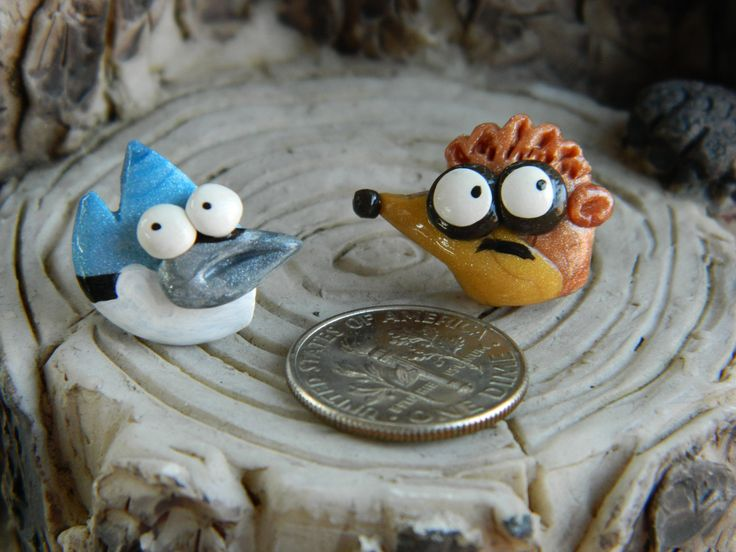 Regular show's Rigby and Mordecai studs by DaintyGeekery on Etsy https://www.etsy.com/listing/90145817/regular-shows-rigby-and-mordecai-studs