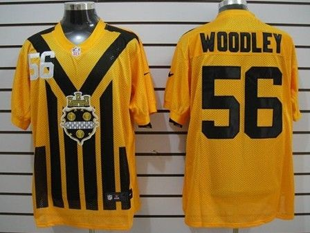 Men's Pittsburgh Steelers #56 LaMarr Woodley 1933 Yellow Throwback Jerseys