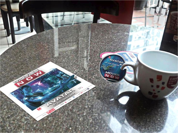 This 3D Table Graphic was designed and installed across the Coffee Chain of Cafe Coffee Day In India for the promotion of the TV Launch of the Movie- 'Avatar' on 'Movies Now' Channel.