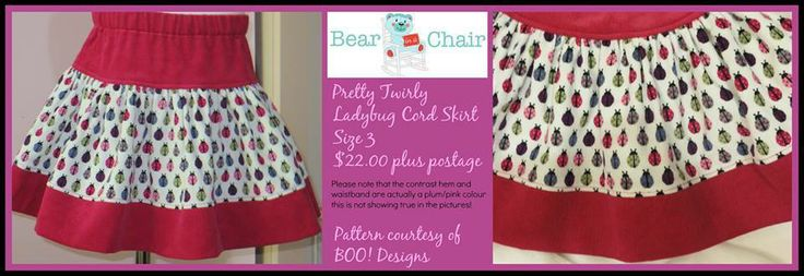 Pretty Twirly Ladybug Cord Skirt. Winter Wonderland Market Night opens at 9pm, on Tuesday 27th May, 2014. The first person to comment sold will be able to purchase the item direct from the business listed on the item.