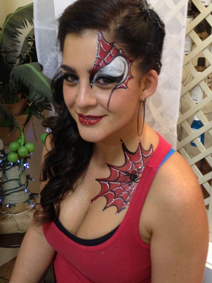 Feminine spider man face painting design