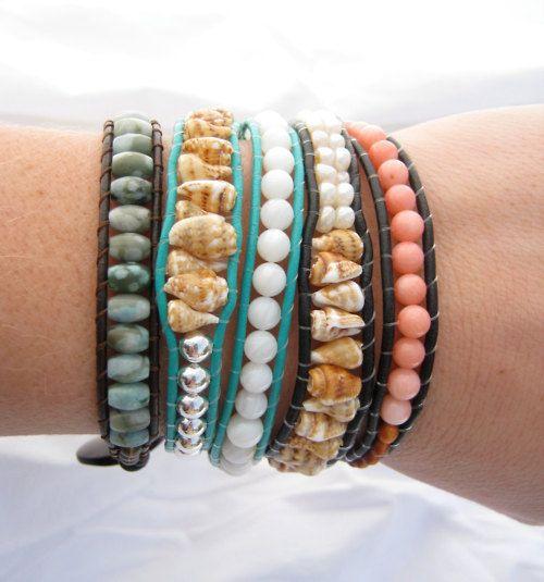wanna try to make these.: Wraps Bracelets, Beads Bracelets, Style, Beaches Bracelets, Seashells, Summer Accessories, Summer Bracelets, Diy, Friendship Bracelets