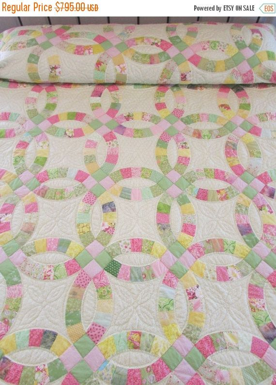 double wedding ring quilt hand made quilt country quilt traditional quilt quilted bedspread patchwork quilt pink and green quilt - Wedding Ring Quilts For Sale