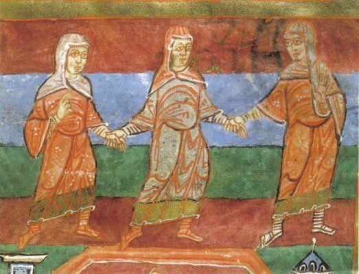 Des gens du peuple dansent et chantent à la porte du monastère (il y a un autre dessin en bas, supprimé dans ce tableau): Radegonde refuse d'écouter les chansons profanes et réprimande une soeur qui y prenait gout. BM Poitiers - RADEGONDE DE POITIERS. 1) BIOGRAPHIE. 1.4 FONDATRICE DE L'ABBAYE DE POITIERS, 4: D'après une autre biographie de BAUDOVINIE, une noniale de Poitiers, composée vers 600, elle avait une grande vénération pour les reliques.