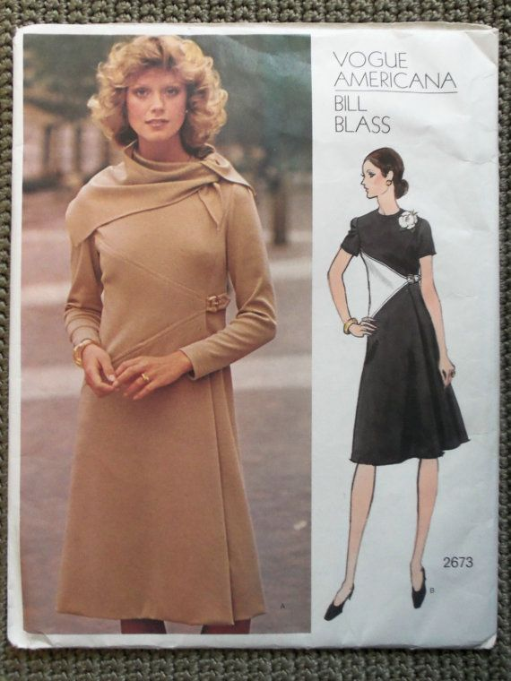 Vintage 1970s Vogue BILL BLASS Dress and Scarf Pattern sz 14
