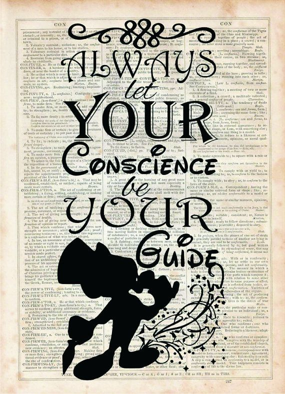 Jiminy Cricket quote, Dictionary Art Print, Vintage Dictionary, Silhouette…