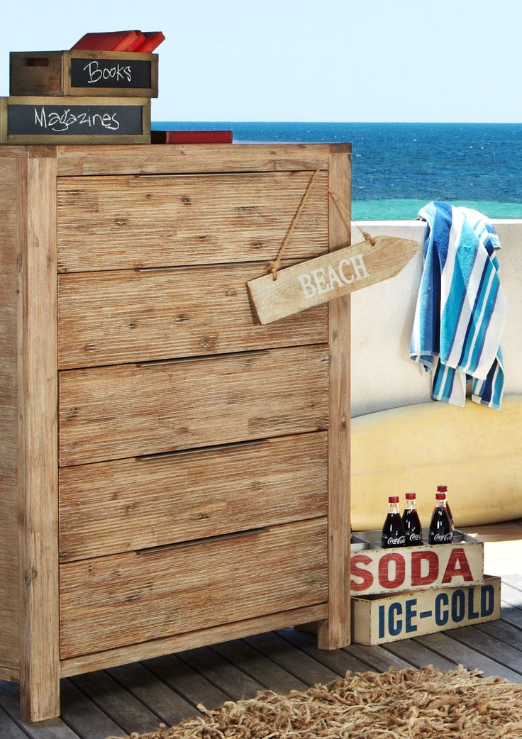 Natural and rustic, this tallboy is part of the Palm Beach suit from Bedshed. Delve deeper into the beach theme by focusing on a few choice additions to your decor - a surf board and retro sign should do the trick.