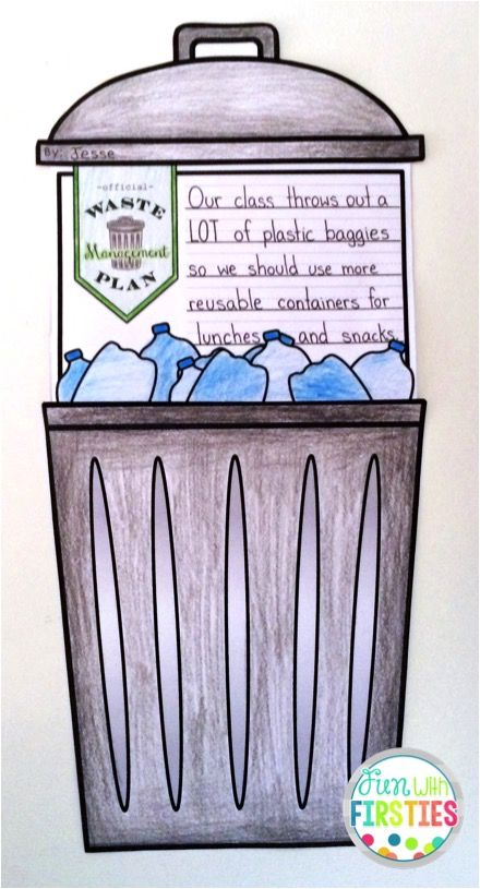 My Official Waste Management Plan craftivity: students evaluate the use/waste of materials and objects around them and come up with a plan to help reduce waste ...great for Earth Day or a Materials, Objects, and Everyday Structures science unit