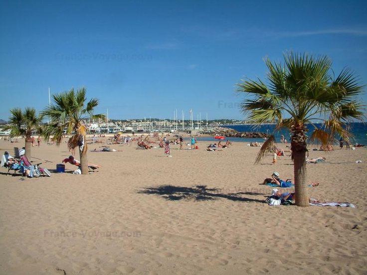 Fréjus: Fréjus-Plage : plage de sable avec des estivants et des palmiers, mer méditerranée et bateaux du port - France-Voyage.com