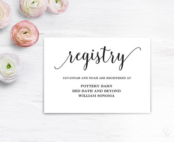 Best Wedding Gift Registry: Gift Registery Card Template, Printable Wedding Registry