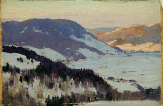 Clarence Gagnon, Vallée du Gouffre, Charlevoix, vers 1915, huile sur bois. Follow the biggest painting board on Pinterest: www.pinterest.com/atelierbeauvoir