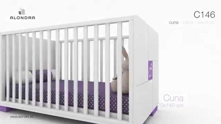 Cunas modernas convertibles en cama junior de diseño y escritorio para niños, colección CLIP Alondra.