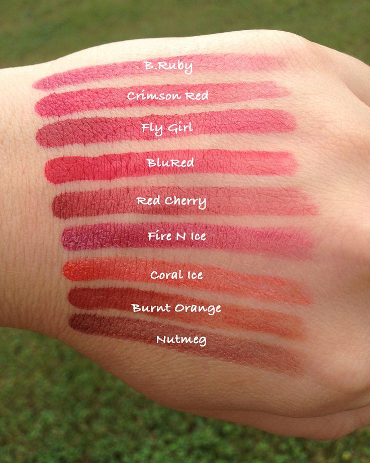 Senegence Lipsense Swatches B Ruby Crimson Red Fly Girl