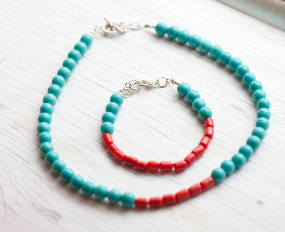 Turquoise & Red Bracelet