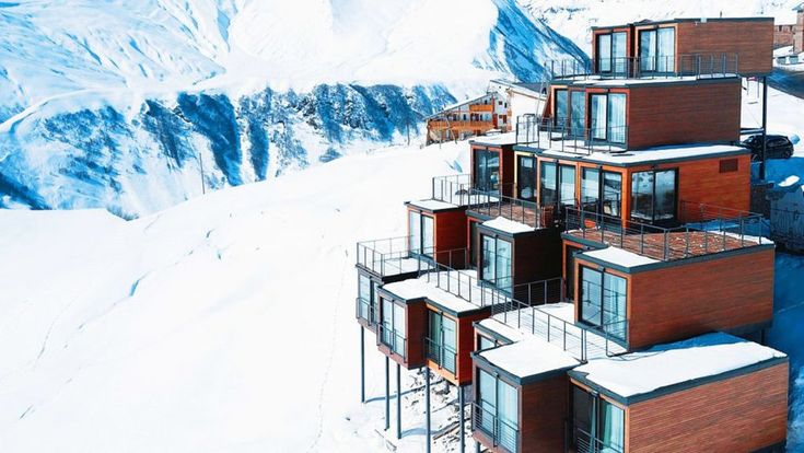 Shipping containers stack up into striking ski resort lodge | Curbed