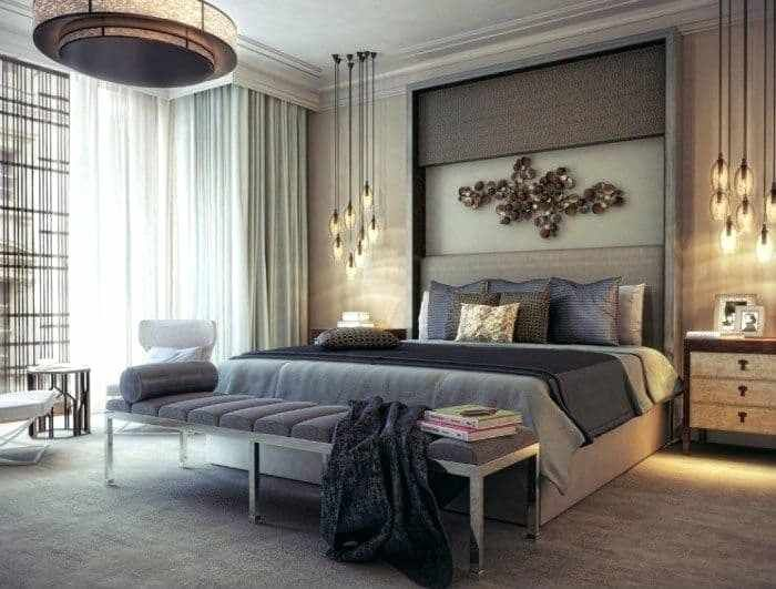 Master Bedroom Pendant Lights Modern Master Bedroom Illuminated With Modern Chandelier An Modern Master Bedroom Minimalist Bedroom Design Master Bedrooms Decor