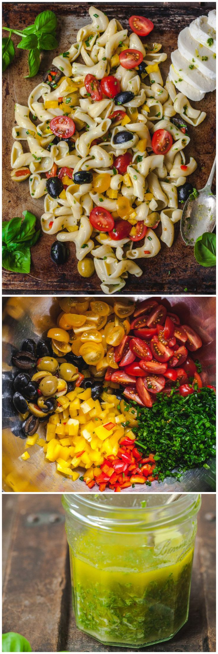 "Pasta Salad that looks like ""real"" salad, loaded with vibrant veggies and dressed with basil vinaigrette!"