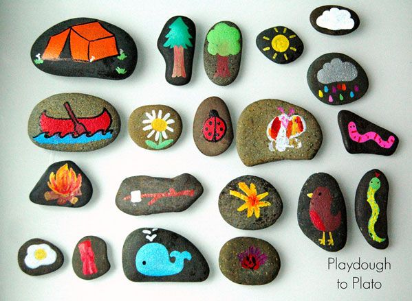 Camping Themed Story Stones #cubscoutcrafts