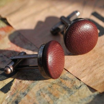 Ox Blood Vintage Styled #Leather #cufflinks - Cufflinks - Accessories - Men
