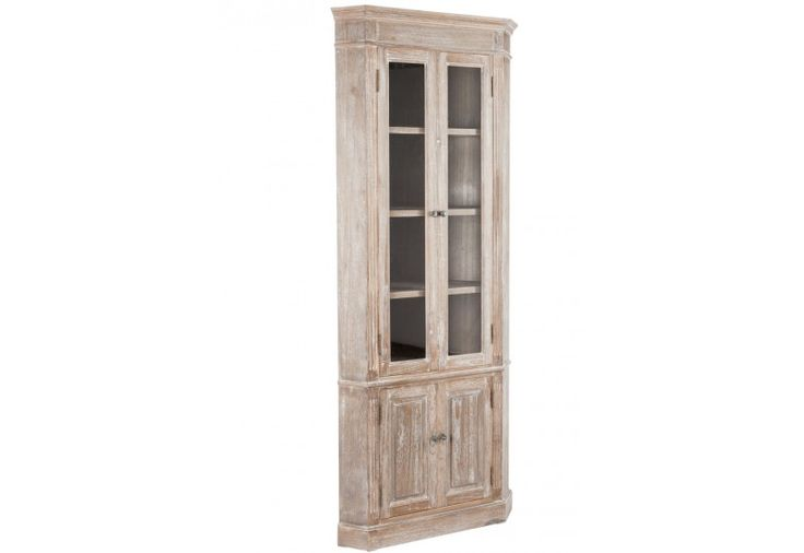 vitrine d'angle campagne chic en bois vieilli blanchi 2 vitrines et...