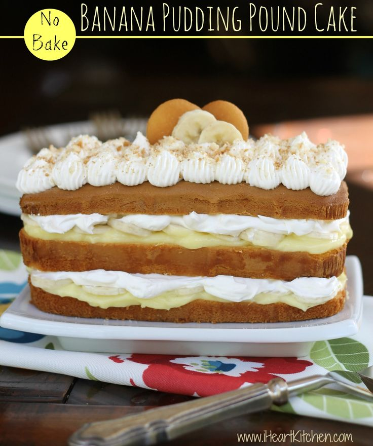 No Bake Banana Pudding Pound Cake - the pound cake mimics the soft texture of the cookies!