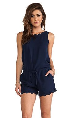 Joie - Carenza Lace Trim Romper in Dark Navy | REVOLVE I really hate rompers but this is cute!!!