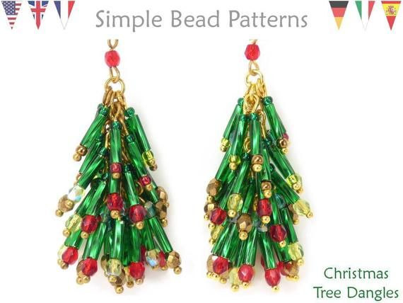 Diy Jewelry Making Pattern Beaded Christmas Tree Earrings Wire