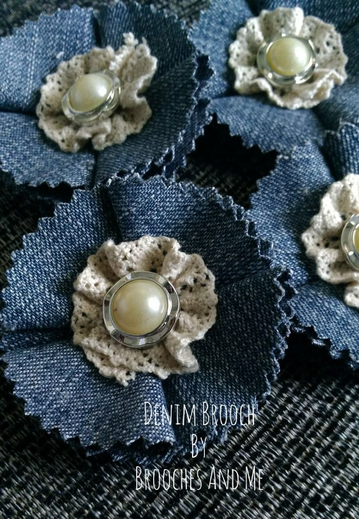 $6.50 - Denim Brooch  Made from denim fabric, lace and beads. Ended up with pin for the back side