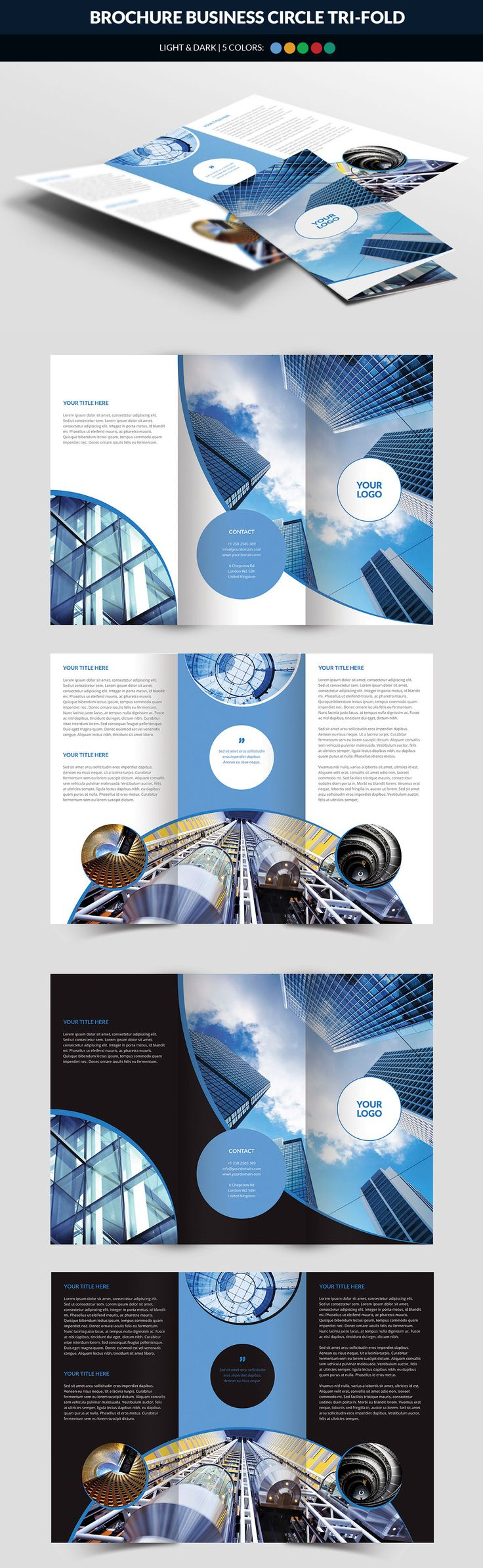 Business Circle Tri Fold Brochure Template PSD