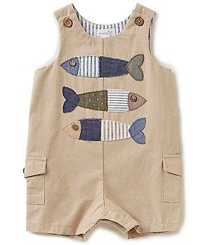 Mud Pie Baby Boys 6-18 Months Fish Appliqued Shortall