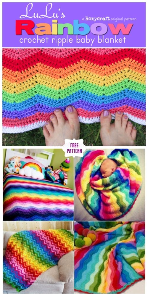 Crochet Rainbow Ripple Blanket Free Crochet Pattern Crochet Ripple Baby Blanket Crochet Baby Blanket Free Pattern Crochet Ripple