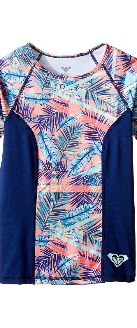 Roxy Kids Four Shore Short Sleeve Rashguard (Big Kids) (Pool Blue Free Spirit) Girl's Swimwear - Roxy Kids, Four Shore Short Sleeve Rashguard (Big Kids), ERGWR03038-BHF6, Apparel Top Swimwear, Swimwear, Top, Apparel, Clothes Clothing, Gift - Outfit Ideas And Street Style 2017