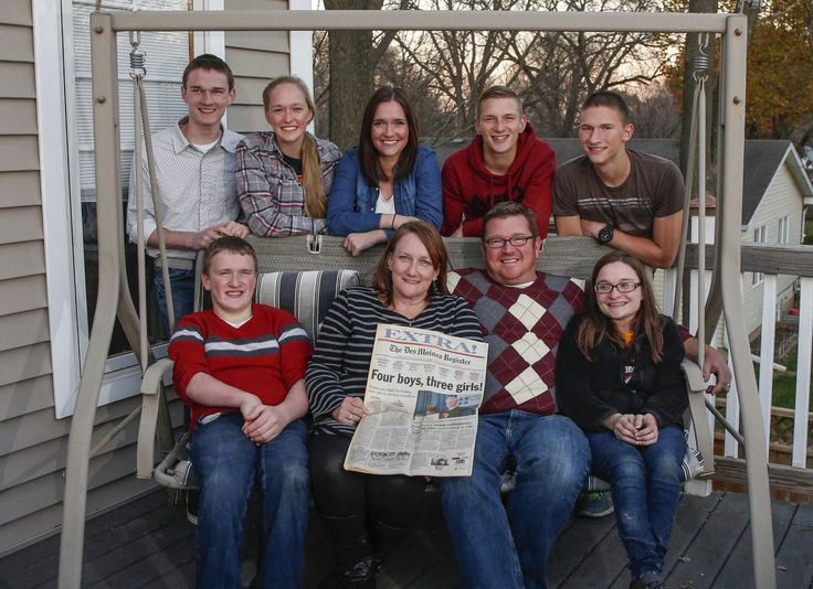 The McCaughey Septuplets Turn 18 —See Them All Grown Up! BOBBI AND KENNY MCCAUGHEY WITH (CLOCKWISE FROM THE BACK LEFT) JOEL, NATALIE, KELSEY, KENNY JR., BRANDON, ALEXIS, AND NATHAN AT HOME IN IOWA.