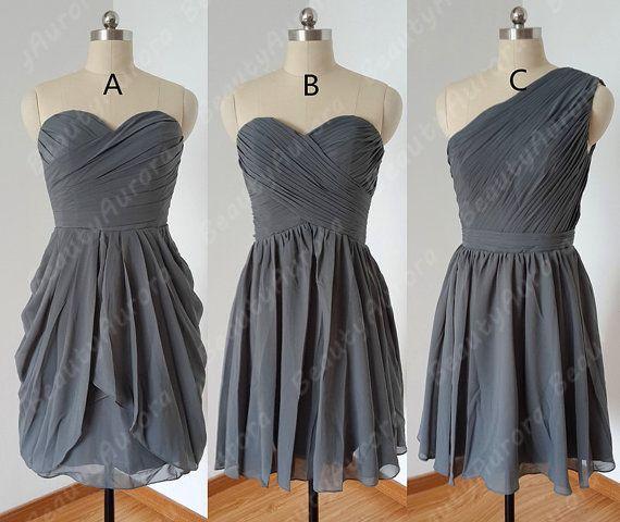 Short dark grey bridesmaid dress wedding party dress mint for Dark grey wedding dresses
