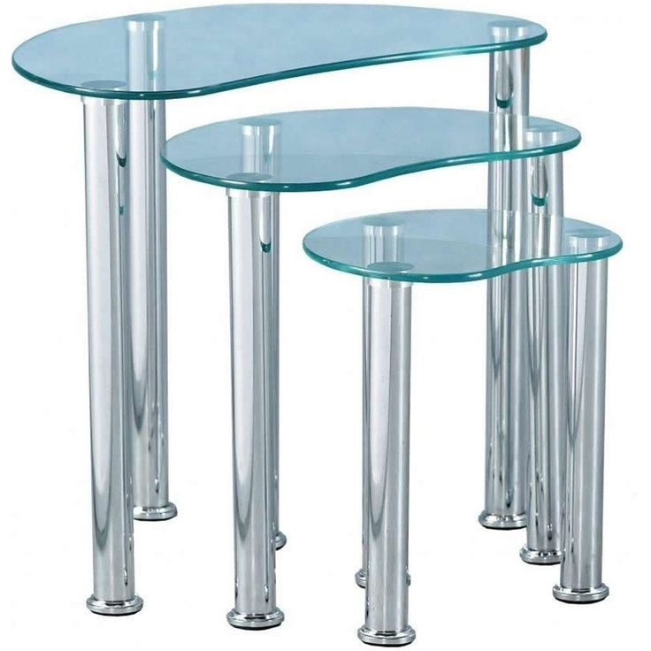 #Nest Glass#Tables 3Pc Stainless Steel Modern#Transparent#Coffee Side Table#Set