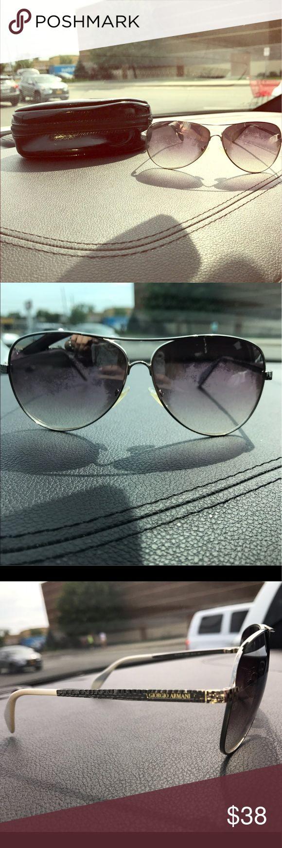 Giorgio Armani Silver Aviator Sunglasses classic silver framed tinted aviator sunglasses with white & chrome silver legs. in good used condition. comes with black soft pouch & cleaning cloth. Giorgio Armani Accessories Sunglasses