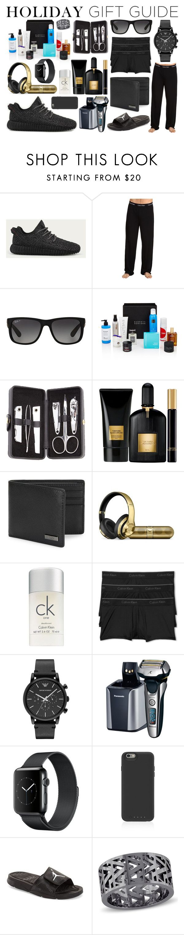 """""""Holiday Gift Guide For Men"""" by jessicagrewal ❤ liked on Polyvore featuring adidas, Calvin Klein Underwear, Ray-Ban, Beauty Box, Royce Leather, Tom Ford, HUGO, Calvin Klein, Emporio Armani and Panasonic"""