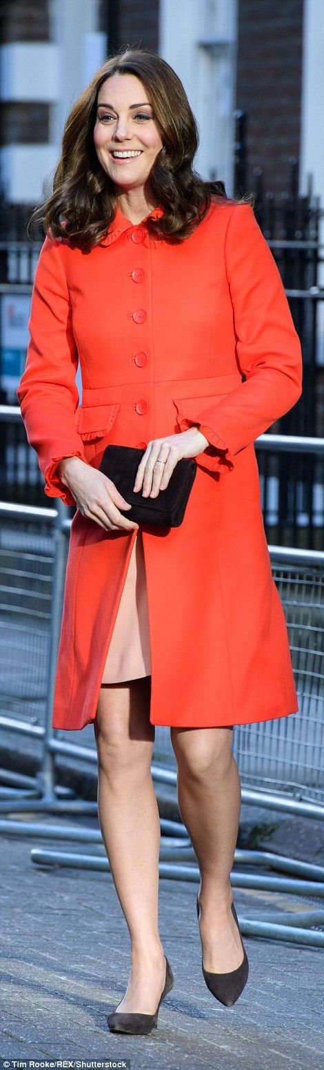 The Duchess stepped out in a pale pink dress, worn under a bright red coat from middle cla... #katemiddleton #royals