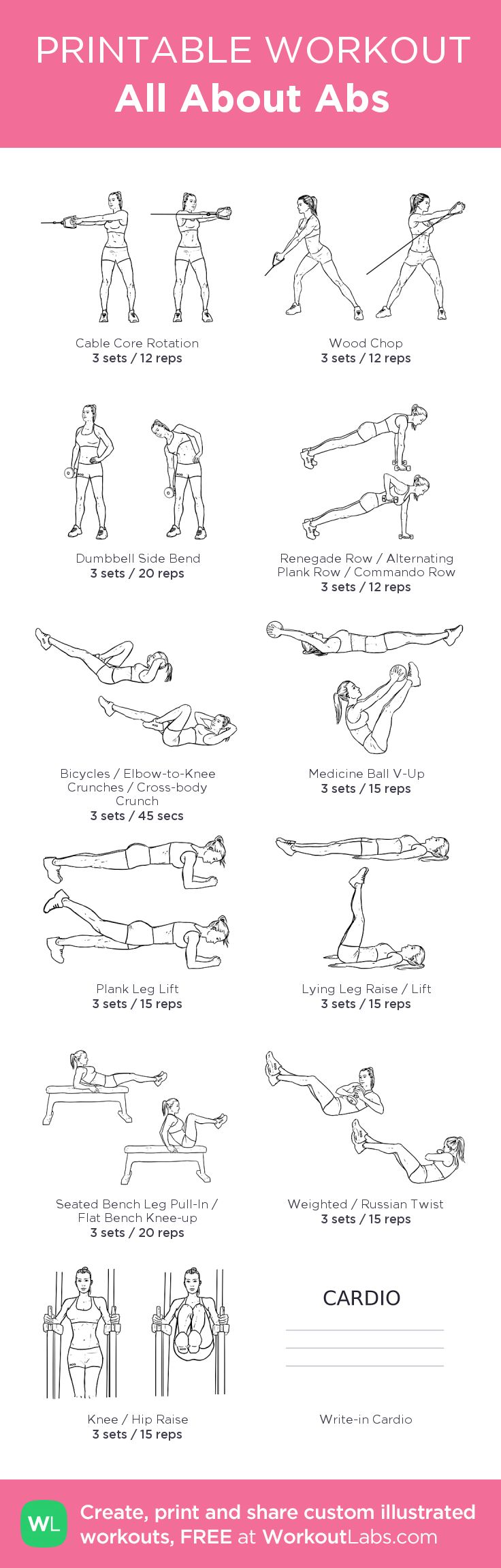 All About Abs – my custom workout created at WorkoutLabs.com • Click through to download as printable PDF! #customworkout