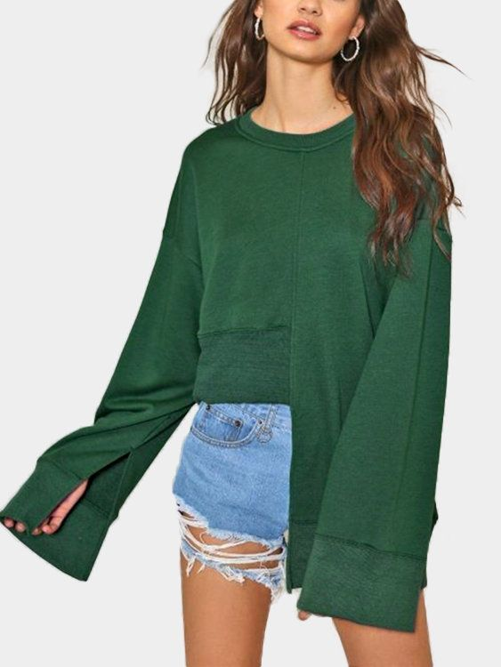 A lightweight fashion sweatshirt featuring a round neckline, long sleeves, a high-low hem design, splited design and long sleeves. Perfect with jeans.