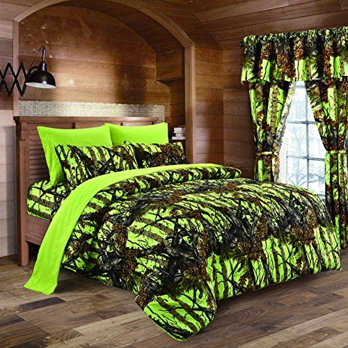 The Woods Lime Green Camouflage King 8pc Premium Luxury Comforter, Sheet, Pillowcases, and Bed Skirt Set by Regal Comfort Camo Bedding Set For Hunters Cabin or Rustic Lodge Teens Boys and Girls