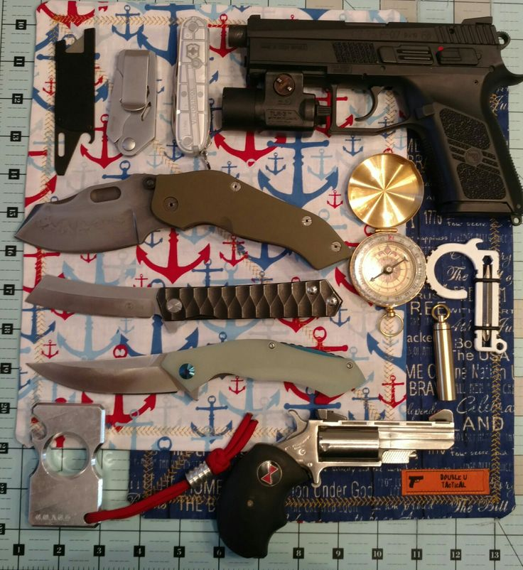 CZ 75 P-07, Sniper Bladeworks DMF w/ hamon, Koch tools, NAA 17hmr black widow, Coat of Arms tactical shop aluminum knuck, Double U Tactical Hank.