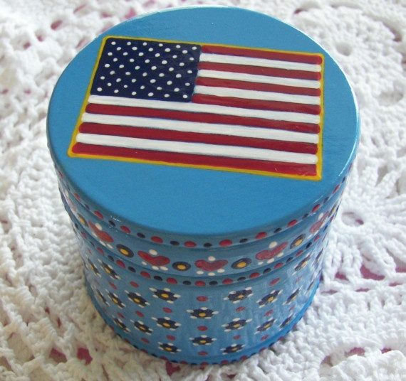 Hand Painted Love Boxes American Flag Box Blue
