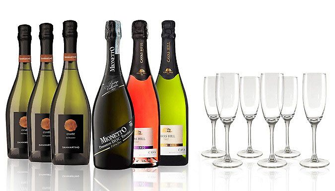 6-Bottle Prosecco & Cava Festive Collection + 6 Champagne Flutes Let the good times roll in with theProsecco  and  Cava Collection with Champagne Flutes      Collection includes 6 bottles of sweet, dry and fruity bubbly      Set Includes:                1 x Cavas Hill 1887 NV Semi Seco          1 x Cavas Hill 1887 NV Rosado          3 x San Martino Cuvée Extra Dry          1 x Mionetto...