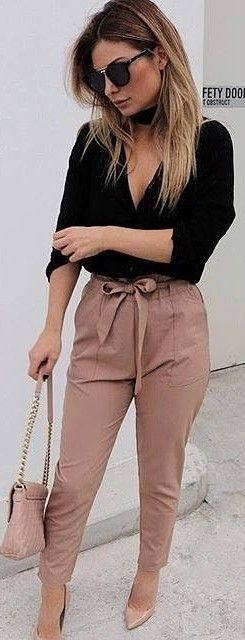 Office look | Ribbon belted neutral high waisted trousers with black top