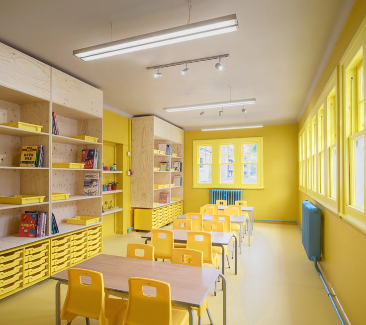 aberrant architecture // rosemary works school london ; bright yellow school class